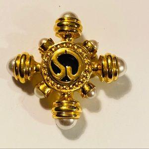 ST JOHN Gold Pearls Black Enamel Brooch Pin